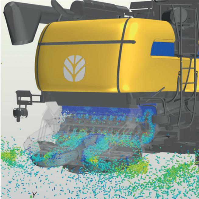 Análise CFD do escoamento de grãos em uma colheitadeira usando DEM (Discrete Element Method)